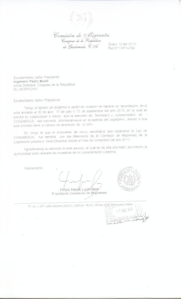 Copia de carta enviada a la Presidencia del Congreso de Guatemala para que se elija a los funcionarios que representarán a CONAMIGUA. Fotografía: LA VOZ, diputado Felipe Alejos.