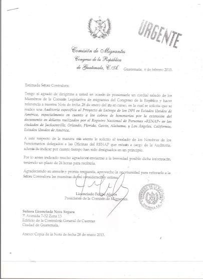 Copia de carta enviada por diputado Felipe Alejos a la Contraloría General de Cuentas de la Nación. Fotografía: LA VOZ- Comisión del Migrante.