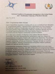 Modelo de la carta que será presentada a congresistas estadounidenses por parte de miembros de CONGUATE. Fotografía: La voz-