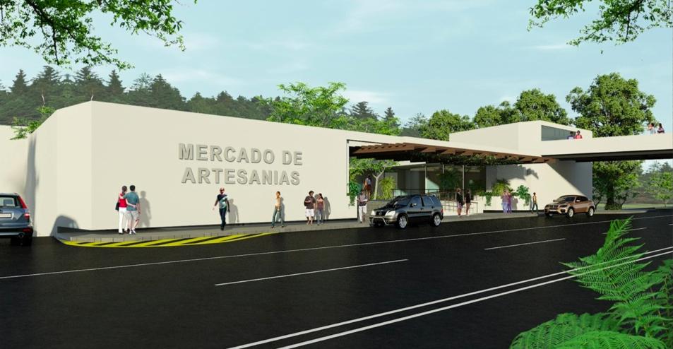 Propuesta de la Fachada del futuro Mercado de Artesanías en la Ciudad de Guatemala. Fotografía: Fundación Ruta Maya