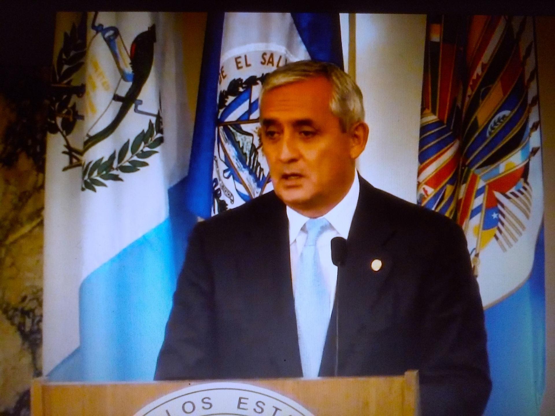 El Presidente de Guatemala, Otto Pérez, aseguró que la llegada de menores indocumentados a los Estados Unidos bajó en 50 por ciento durante las dos últimas semanas. Fotografía: Streaming sesión de Asamblea de la OEA.